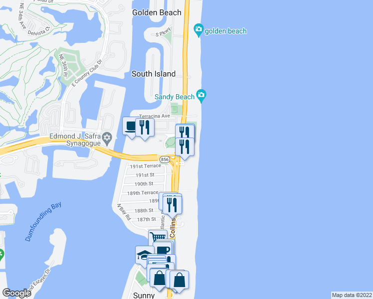 map of restaurants, bars, coffee shops, grocery stores, and more near 19201 Collins Avenue in Sunny Isles Beach