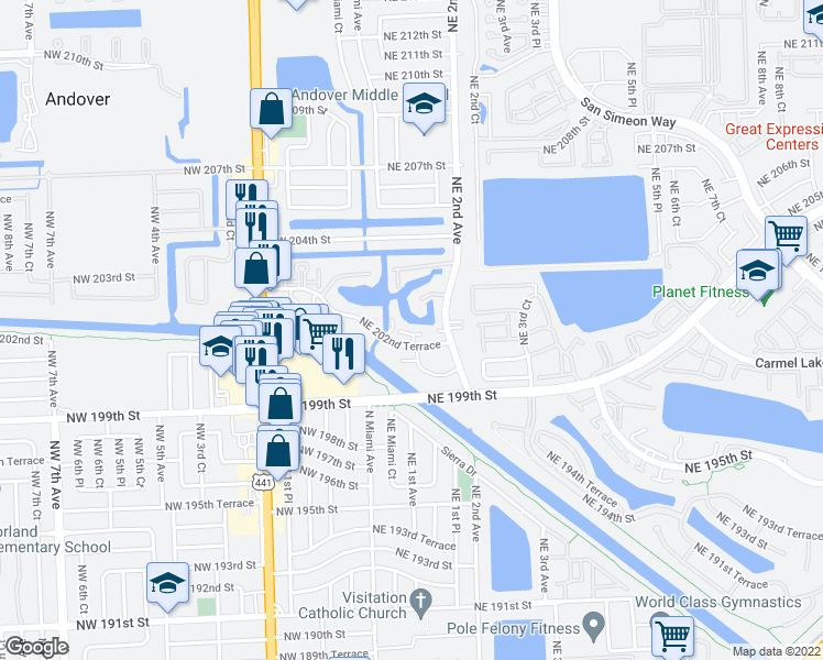 map of restaurants, bars, coffee shops, grocery stores, and more near 135 Northeast 202nd Terrace in North Miami Beach