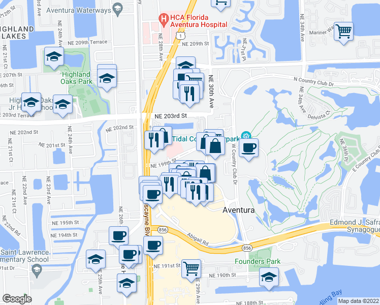 map of restaurants, bars, coffee shops, grocery stores, and more near Aventura Boulevard in Aventura