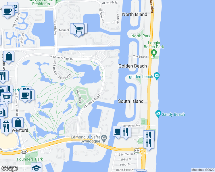 map of restaurants, bars, coffee shops, grocery stores, and more near 20155 Northeast 38th Court in Aventura