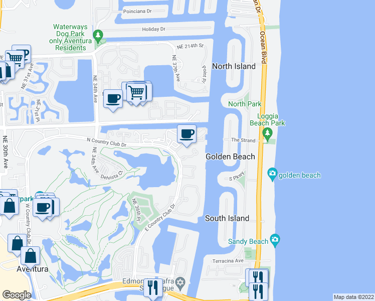 map of restaurants, bars, coffee shops, grocery stores, and more near 20281 East Country Club Drive in Aventura