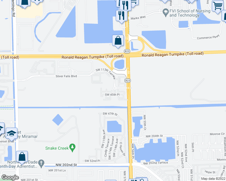 map of restaurants, bars, coffee shops, grocery stores, and more near 11338 Southwest 45th Place in Miramar