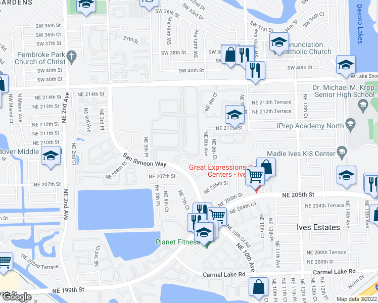 map of restaurants, bars, coffee shops, grocery stores, and more near 20941 San Simeon Way in Miami