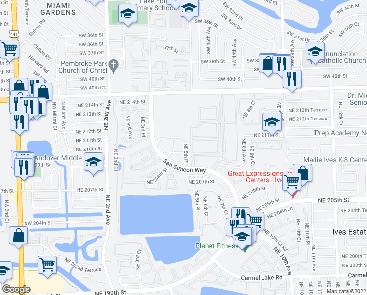 map of restaurants, bars, coffee shops, grocery stores, and more near 21042 Northeast 5th Place in Miami