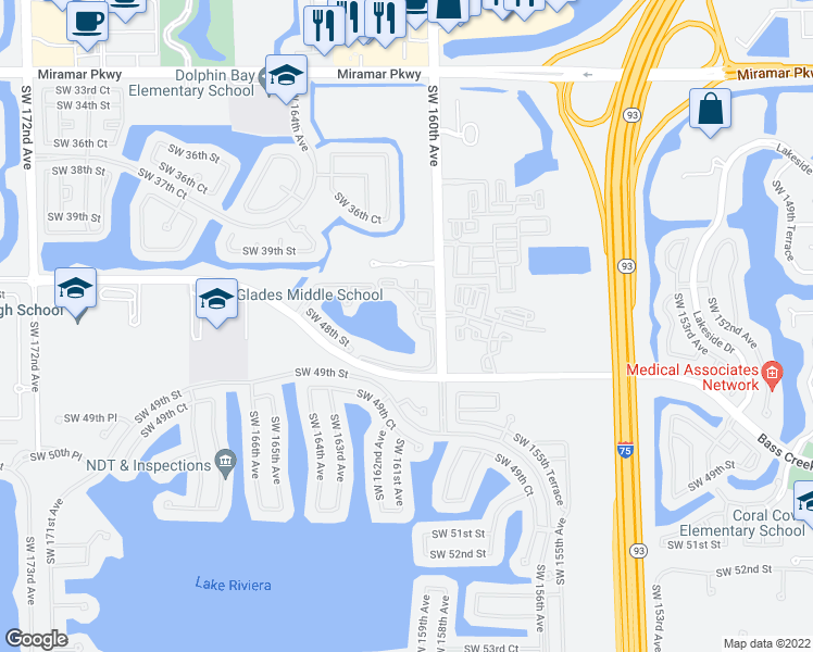 map of restaurants, bars, coffee shops, grocery stores, and more near 4704 Southwest 160th Avenue in Miramar