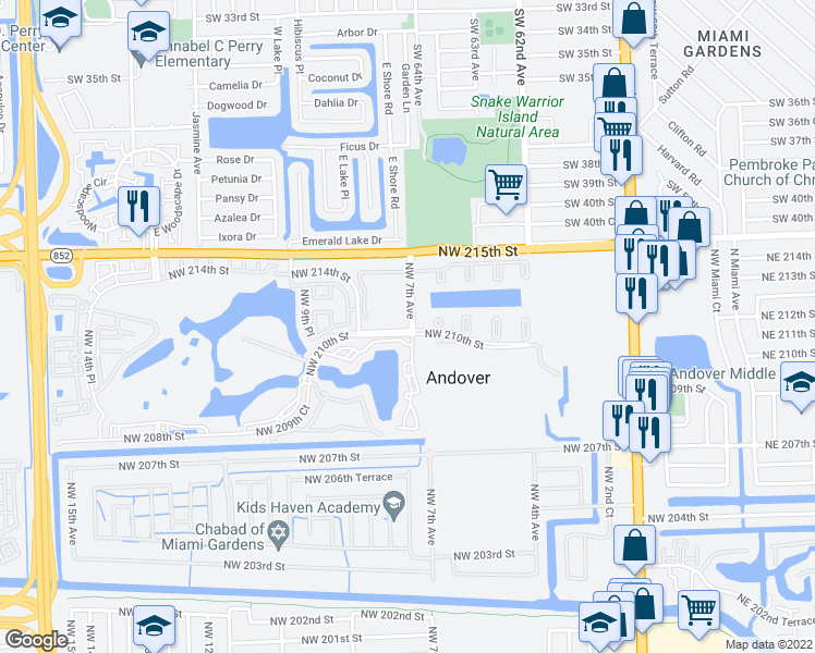 map of restaurants, bars, coffee shops, grocery stores, and more near 20918 Northwest 7th Avenue in Miami Gardens