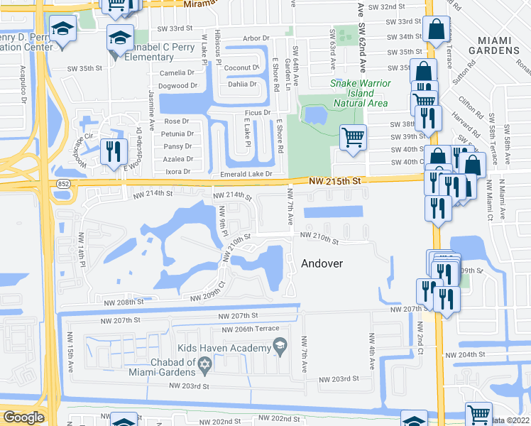 map of restaurants, bars, coffee shops, grocery stores, and more near 21010 NW 7th Ave in Miami Gardens