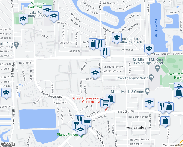 map of restaurants, bars, coffee shops, grocery stores, and more near 21245 Northeast 8th Place in Miami