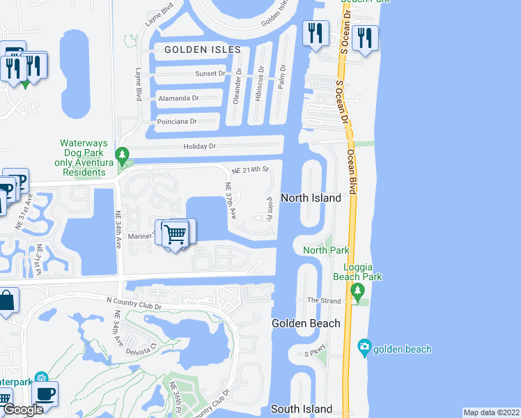 map of restaurants, bars, coffee shops, grocery stores, and more near 21050 Point Place in Aventura