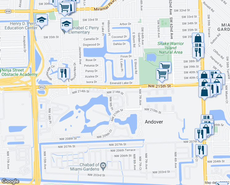 map of restaurants, bars, coffee shops, grocery stores, and more near Northwest 213th Lane in Miami Gardens