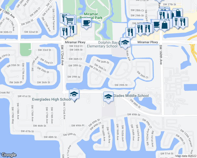 map of restaurants, bars, coffee shops, grocery stores, and more near 3817 Southwest 167th Terrace in Miramar