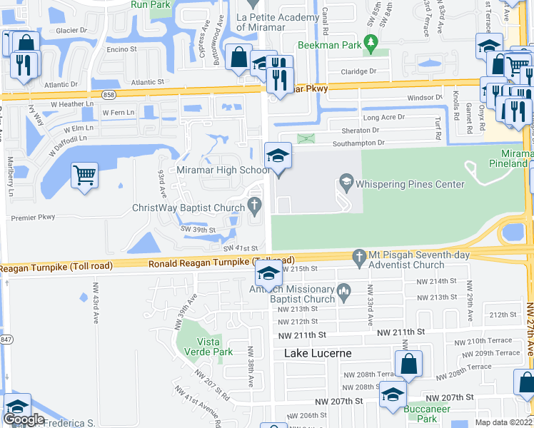 map of restaurants, bars, coffee shops, grocery stores, and more near NW 37th Ave in Miramar