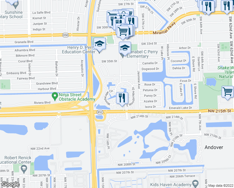 map of restaurants, bars, coffee shops, grocery stores, and more near 7028 Southwest 40th Street in Miramar