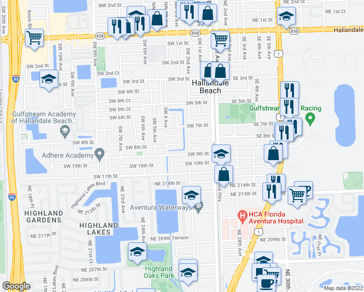 map of restaurants, bars, coffee shops, grocery stores, and more near 805 Southwest 3rd Avenue in Hallandale Beach