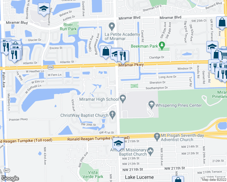 Map Of Miramar Florida.3430 South Douglas Road Miramar Fl Walk Score