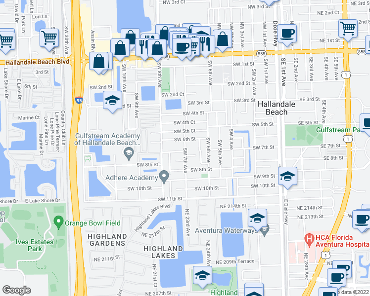 map of restaurants, bars, coffee shops, grocery stores, and more near 626 Southwest 7th Avenue in Hallandale Beach