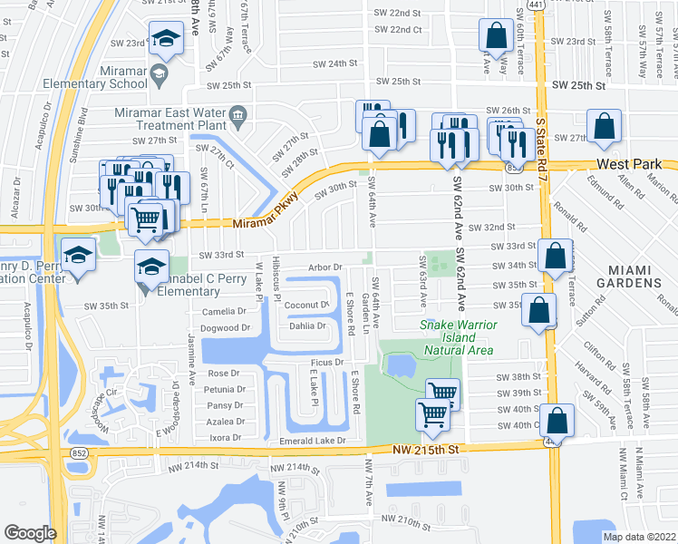 map of restaurants, bars, coffee shops, grocery stores, and more near 6504 Arbor Drive in Miramar