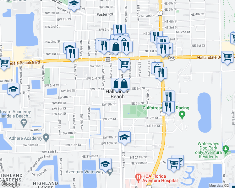 map of restaurants, bars, coffee shops, grocery stores, and more near in Hallandale Beach