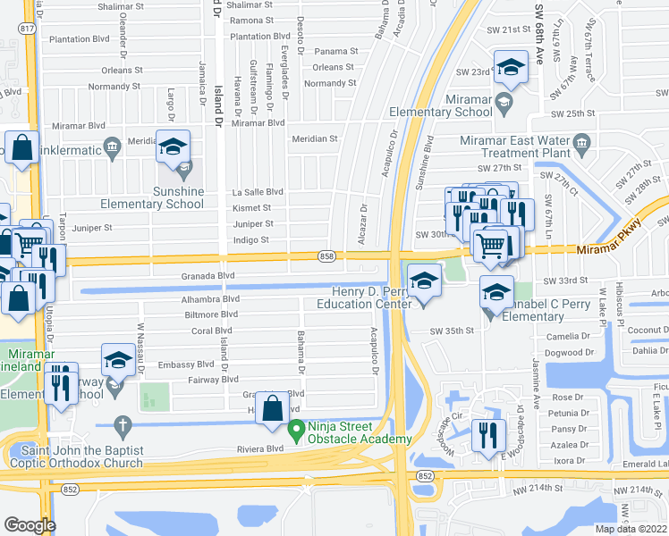 map of restaurants, bars, coffee shops, grocery stores, and more near 7321 Granada Boulevard in Miramar
