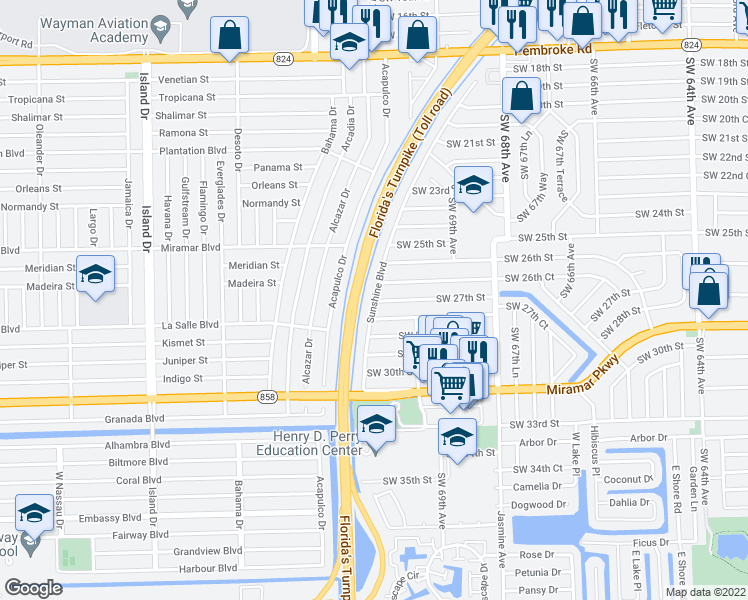 map of restaurants, bars, coffee shops, grocery stores, and more near 11837 Southwest 27th Street in Miramar