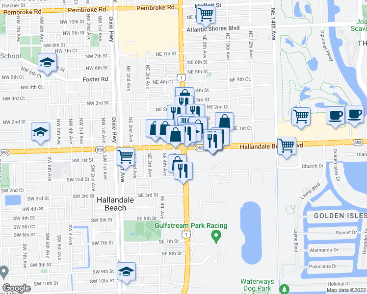 map of restaurants, bars, coffee shops, grocery stores, and more near U.S. 1 in Hallandale