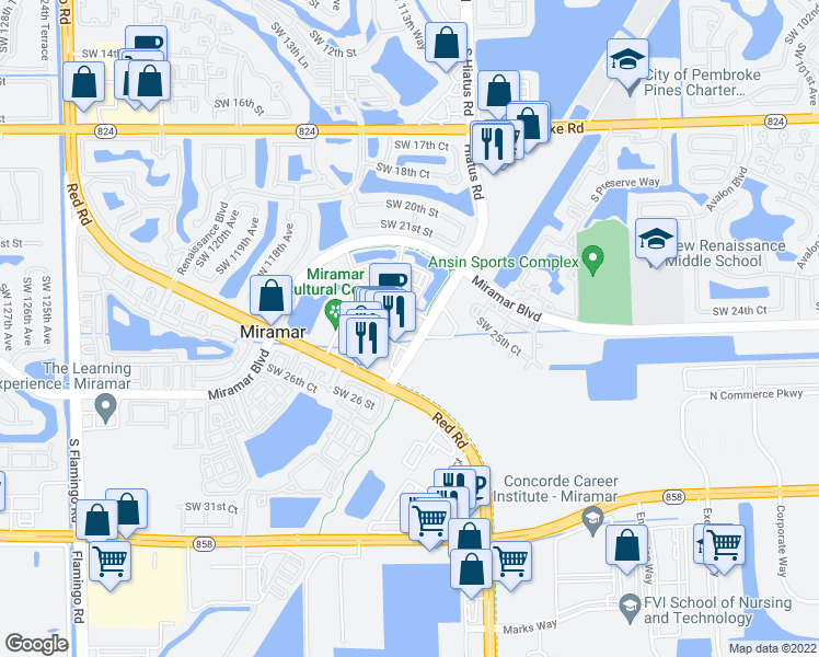 map of restaurants, bars, coffee shops, grocery stores, and more near 11575 City Hall Promenade in Miramar