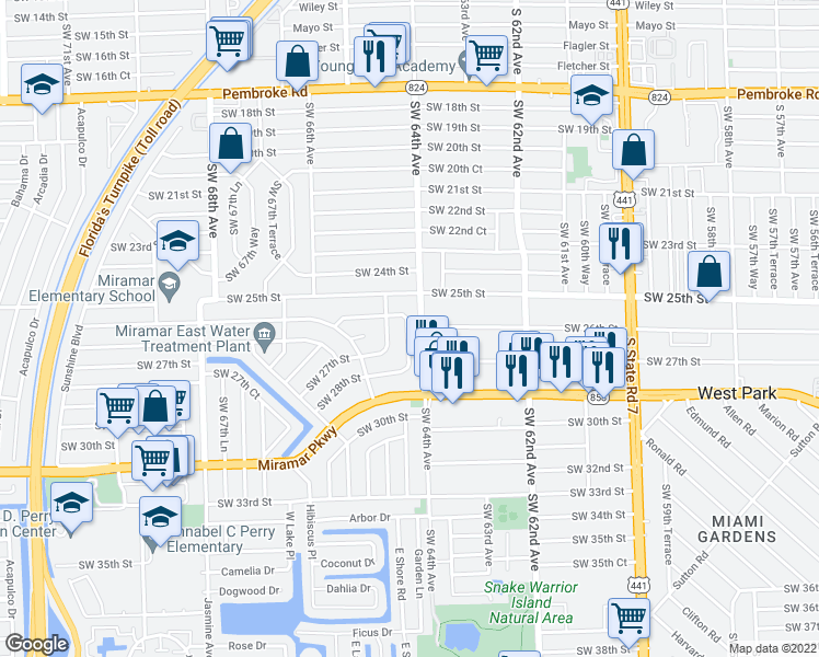 map of restaurants, bars, coffee shops, grocery stores, and more near 6455 Southwest 26th Street in Miramar