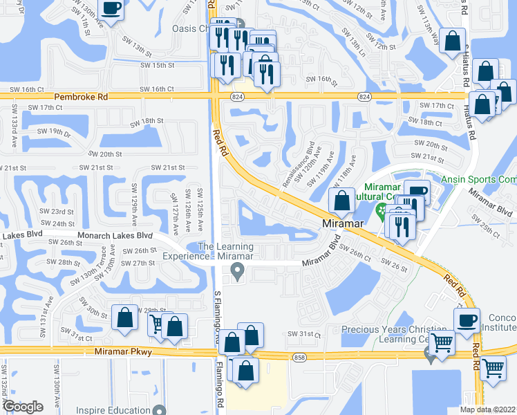 map of restaurants, bars, coffee shops, grocery stores, and more near 2452 Centergate Drive in Miramar