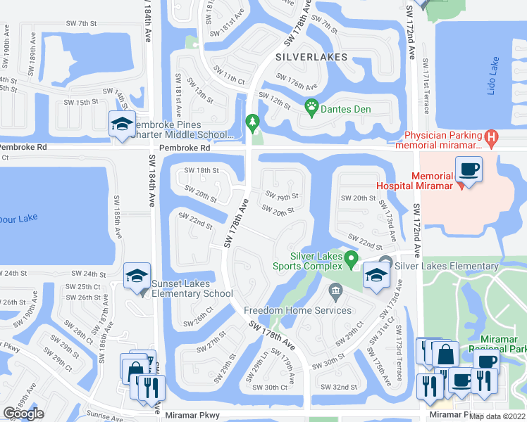 map of restaurants, bars, coffee shops, grocery stores, and more near 17678 Southwest 20th Street in Miramar