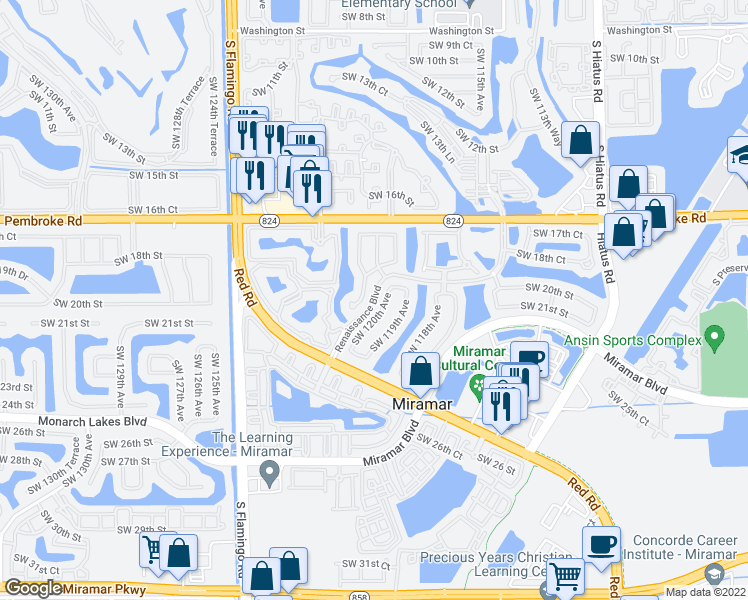 map of restaurants, bars, coffee shops, grocery stores, and more near 2175-2277 Renaissance Boulevard in Miramar