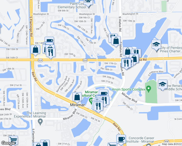 map of restaurants, bars, coffee shops, grocery stores, and more near 2010 Southwest 115th Terrace in Miramar