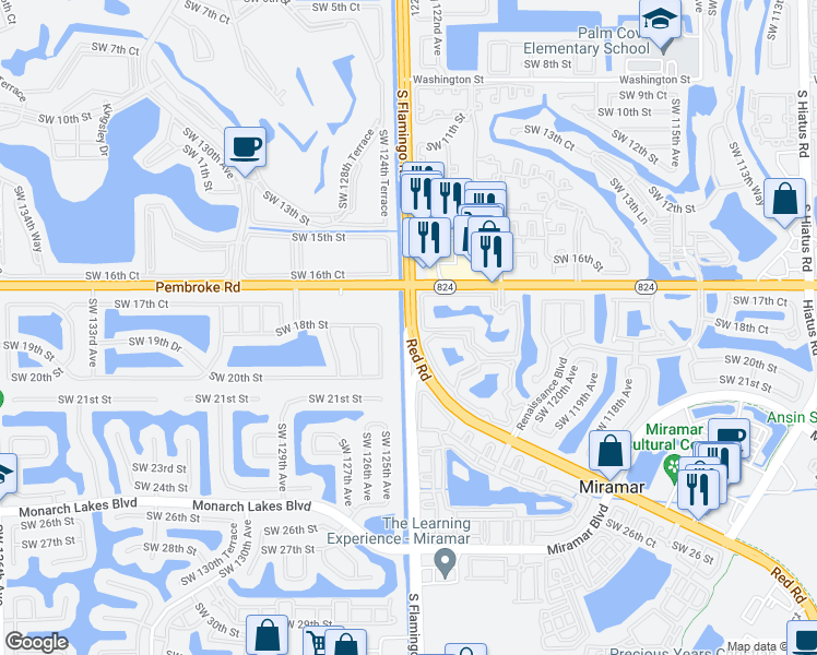 map of restaurants, bars, coffee shops, grocery stores, and more near South Flamingo Road & Red Road in Miramar