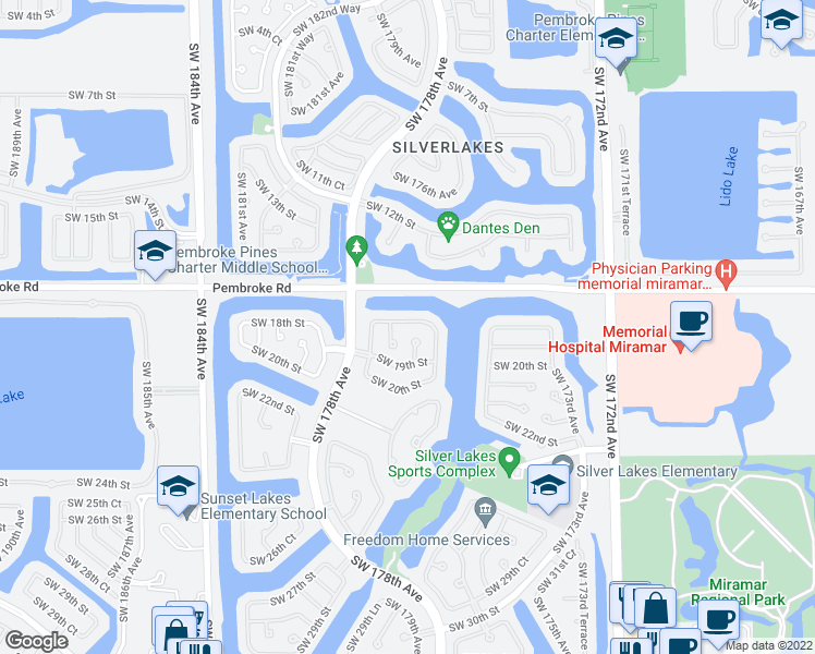map of restaurants, bars, coffee shops, grocery stores, and more near 1801 Southwest 176th Avenue in Miramar