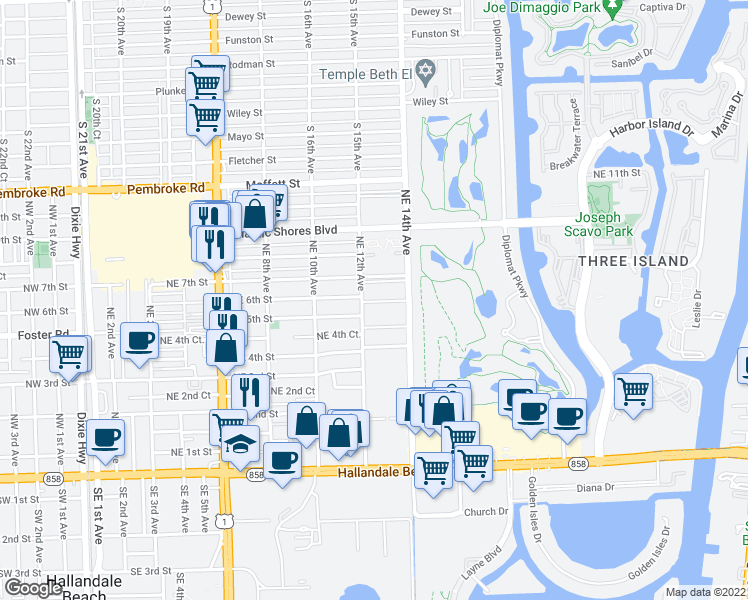 map of restaurants, bars, coffee shops, grocery stores, and more near 610 Northeast 12th Avenue in Hallandale Beach