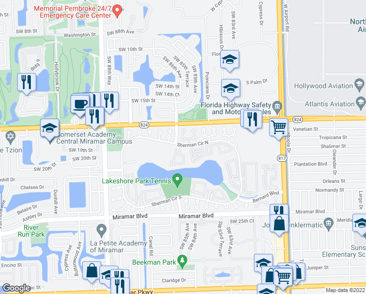 map of restaurants, bars, coffee shops, grocery stores, and more near 8500 Sherman Circle North in Miramar