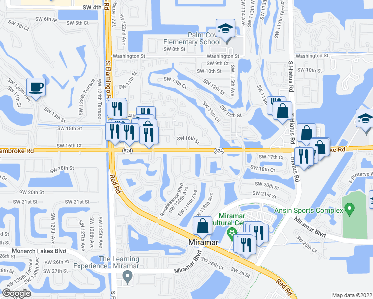 map of restaurants, bars, coffee shops, grocery stores, and more near 11817-11899 Pembroke Road in Miramar