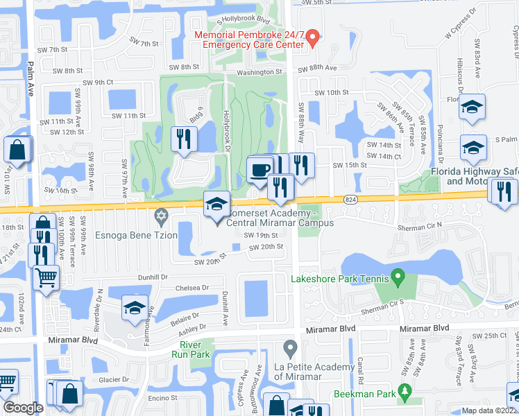 map of restaurants, bars, coffee shops, grocery stores, and more near 8993 Southwest 17th Court in Miramar