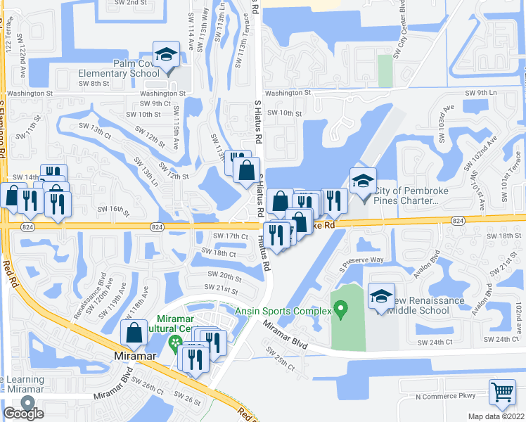 map of restaurants, bars, coffee shops, grocery stores, and more near South Hiatus Road in Pembroke Pines