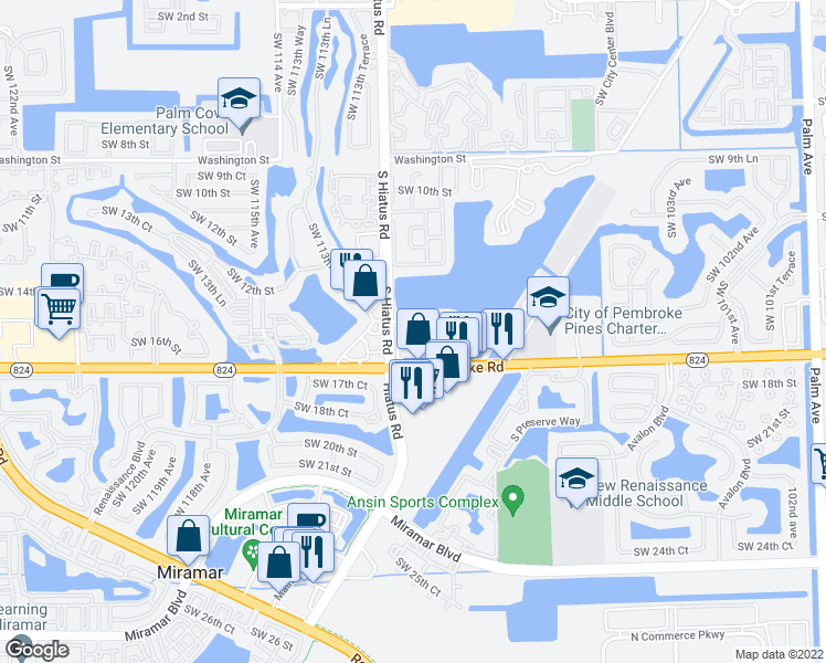 map of restaurants, bars, coffee shops, grocery stores, and more near 1601 South Hiatus Road in Pembroke Pines