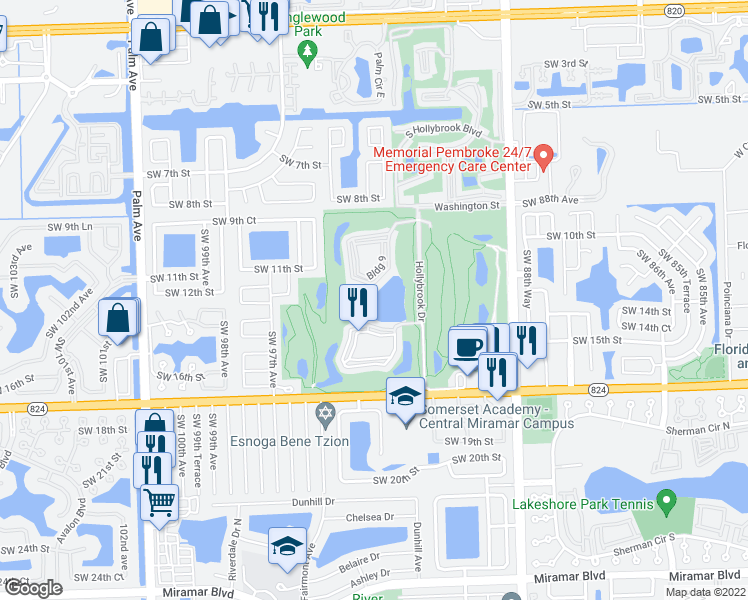 map of restaurants, bars, coffee shops, grocery stores, and more near 9200 North Hollybrook Lake Drive in Pembroke Pines