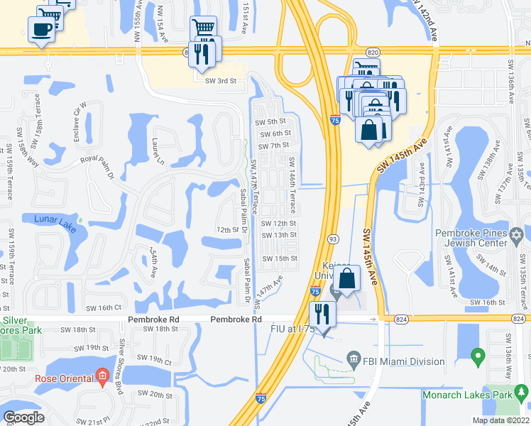 map of restaurants, bars, coffee shops, grocery stores, and more near 14735 Southwest 11th Court in Pembroke Pines