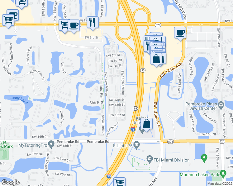 map of restaurants, bars, coffee shops, grocery stores, and more near 634 Southwest 147th Avenue in Pembroke Pines