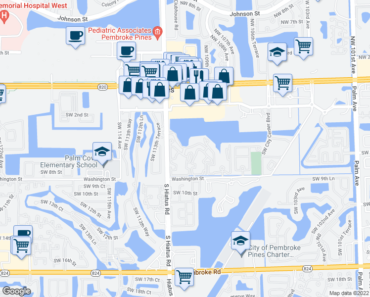 map of restaurants, bars, coffee shops, grocery stores, and more near 600-698 Southwest 111th Way in Pembroke Pines