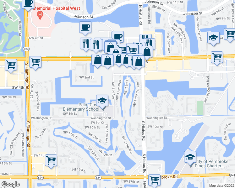 map of restaurants, bars, coffee shops, grocery stores, and more near 446 Southwest 113th Way in Pembroke Pines