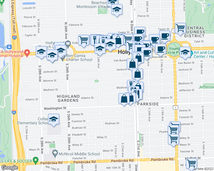 map of restaurants, bars, coffee shops, grocery stores, and more near 2309 Madison Street in Hollywood