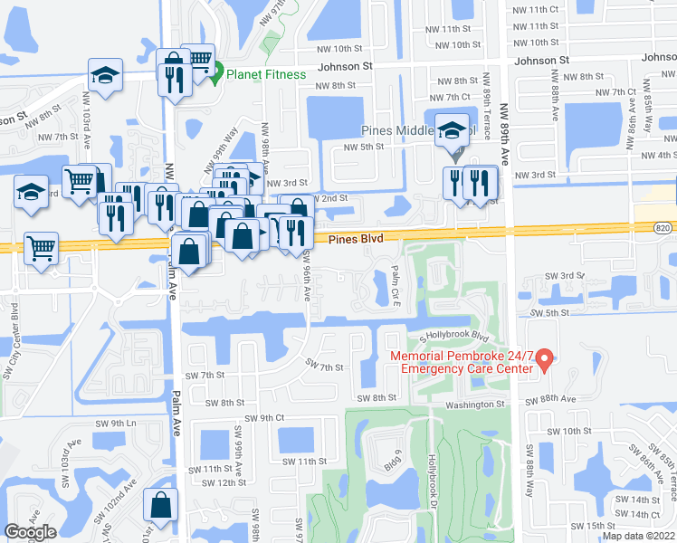 map of restaurants, bars, coffee shops, grocery stores, and more near 309 Palm Circle in Pembroke Pines
