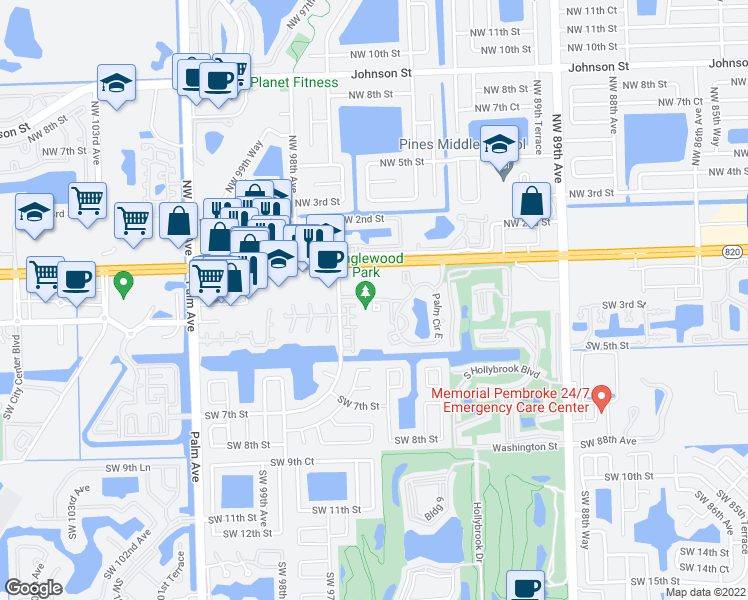 map of restaurants, bars, coffee shops, grocery stores, and more near 300 Palm Circle in Pembroke Pines