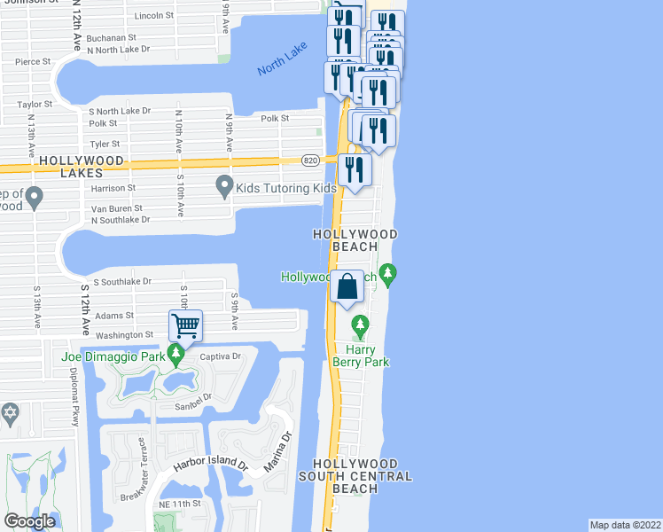 map of restaurants, bars, coffee shops, grocery stores, and more near 801 South Ocean Drive in Hollywood