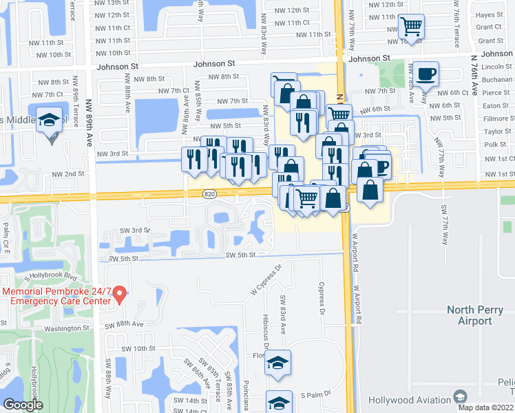 map of restaurants, bars, coffee shops, grocery stores, and more near 101 Southwest 83rd Way in Pembroke Pines
