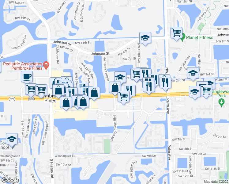 map of restaurants, bars, coffee shops, grocery stores, and more near 10600 Northwest 1st Street in Pembroke Pines